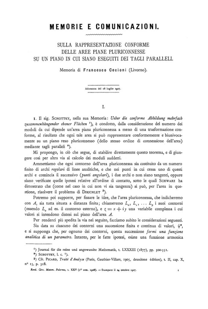 Prima pagina di una monografia di Cecioni del 1908