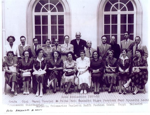Razzauti Preside del Liceo Classico con il corpo docente 1951-1952